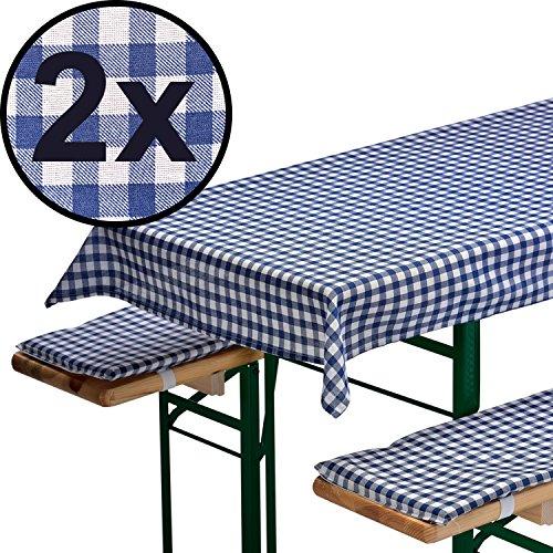 2x Bierbankauflagen-Set 3-teilig in blau: 1 Tischdecke 130 x 70 cm + 2 gepolsterte Bierbankauflagen 110 x 25 cm