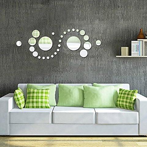 Alicemall Wandaufkleber Stereo Wandtatoo Wohnzimmer Schlafzimmer Kinderzimmer Sofa Hintergrund Wandtattoo (Spiegelfläche Kreis)