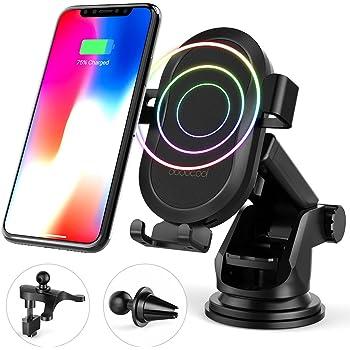 dodocool Caricabatteria Wireless Auto,Caricatore Senza Fili Qi 10W, Supporto del Cellulare per Samsung Galaxy Note8/S8/S8 Plus/S7/S7 edge/Note5/S6 Edge Plus/iPhone X/8 Plus/8 Nero