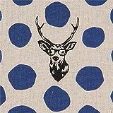 echino Fabrics Naturfarbenes Wachstuch mit dunkelblauen