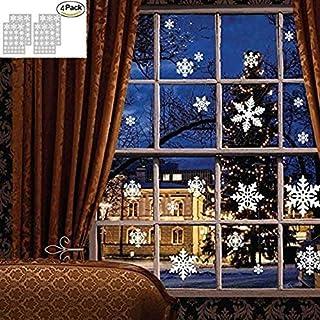 Autocollants décoratifs de Noël, Atmosphère romantique de Noël flocons de neige fenêtre Stickers autocollants pour Noël Party Home Kids Room Decor 4 feuille, 108 flocons de neige