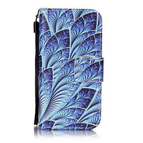 Voguecase Pour Apple iPhone 5 5G 5S SE Coque, Étui en cuir synthétique chic avec fonction support pratique pour iPhone 5 5G 5S SE (Fleur de pêche 10)de Gratuit stylet l'écran aléatoire universelle Feuilles bleues