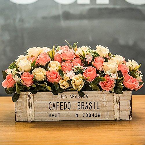 Flinfeays fiori artificiali fiori finti staccionata in legno creativo regali di festa fai da te festa di nozze cucina oggettistica per la casa vaso di fiori teiera in legno molto realistico bianco -12