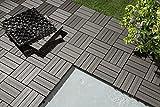 WOHNWOHL 10er-Pack Garten Fliesen I Terrassen Fliesen I WPC Klick-Fliesen I Grau 30x30cm I 0,9m²