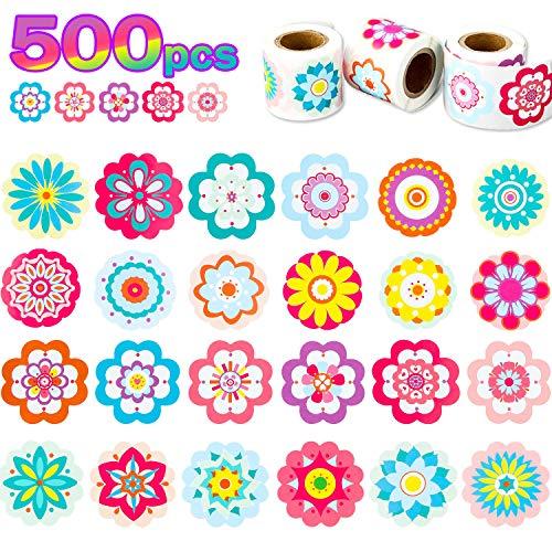 Chinco 500 Stücke Blumen Aufkleber Rollen Aufkleber für Kinder Geburtstag Party Gefälligkeiten/Wasserflaschen/Scrapbooking/Wand/Umschläge, 24 Designs