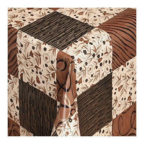 Wachstuch Tischdecke Wachstischdecke Gartentischdecke, Abwaschbar Meterware, Länge wählbar, Festlicher Stil Creme Braun Karriert (198-01) 270cm x 140cm