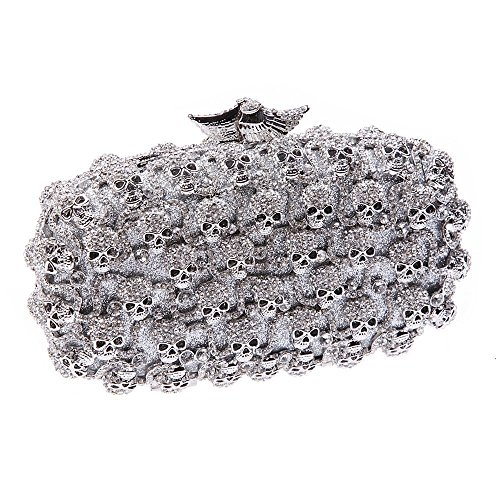 Santimon Clutch Delle Donne Caso di Stile Vestito Diamante Clutch Borsellini Strass Diamante Cristallo Borsa Con Tracolla Amovibile 3 Colori argento