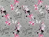 2 Sheets of Silver Pink Bride & Groom Wedding Day Gift Wrapping Paper & 1 Tag