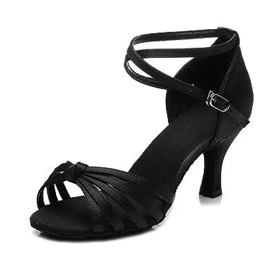 YFF Girl's Women's Ballroom Tango Salsa Latin Dance Schuhe, ROT, 7 cm, 5.