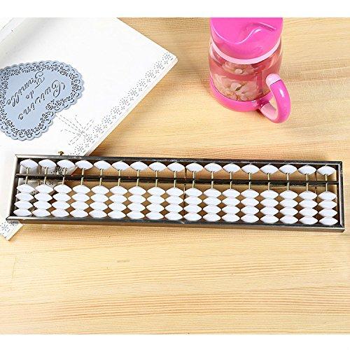 Yannay Kid Spielzeug 17 Dateien Weiße Perle Aluminiumlegierung Abacus Automatische Liquidator Buchhaltung Student Abacus (Weiße Perlen)