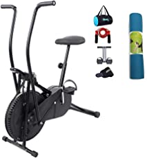 Lifeline Exercise Air Bike Cycle for Home Use Bundles with Tummy Trimmer, Gym Bag, Yoga Mat (6 MM) and Accessories (5 Items)