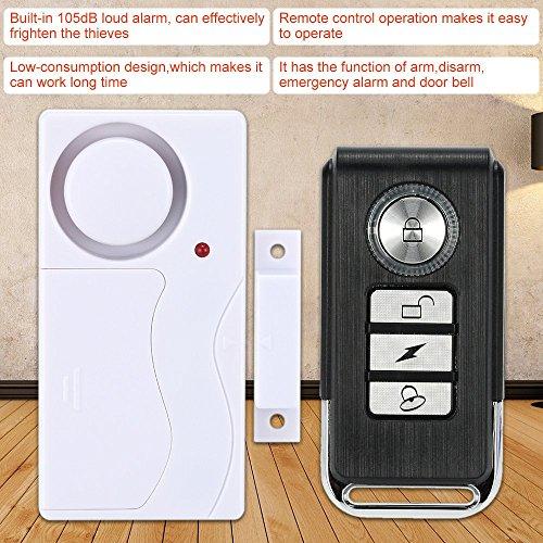 KKmoon Drahtlose magnetischen Sensor Fernbedienung Home Haus Tür Fenster Detektor Sicherheit Vibrationsalarm (Home-alarm Wireless)