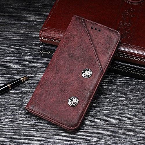 BELLA BEAR Case für Asus Zenfone 3 Deluxe ZS550KL,Ledergeldbörse Halterung Funktion weiches PU-Material Geschäftsstil(Rot) -