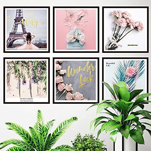 Idolxu 6 Teile/satz Kreative Blumen Fotorahmen Wandaufkleber Für Wohnzimmer Bett - Blume-bett-satz