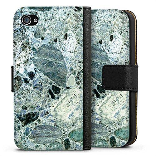 Apple iPhone X Silikon Hülle Case Schutzhülle Granit Marmor Look Marble Sideflip Tasche schwarz