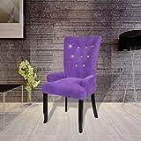 Xingshuoonline Sessel mit Holzrahmen, SAMT, Violett, Sitzhöhe vom Boden: 53,5 cm