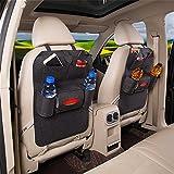 2 Stück Rückenlehnenschutz Auto Rücksitz Organizer Utensilientasche Kinder Filz Sitz Tasche Storage Bag, Dunkelgrau