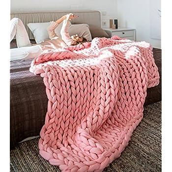 Welltree faite la main g ante maille paisse laine - Plaid maille geante ...
