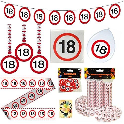 18. Geburtstag 18 Jahre Deko-Set Verkehrsschild Rotorspiralen Girlande Luftballons Absperrband Servietten Luftschlangen Konfetti