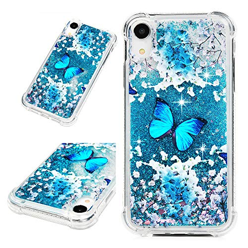 iPhone Xr Case, Mavis's Diary Bling Glitter Sparkle Flowing Liquid Quicksand Moving Sequins Protective Soft TPU Rubber Cover for iPhone Xr 2018 - Blue Butterfly