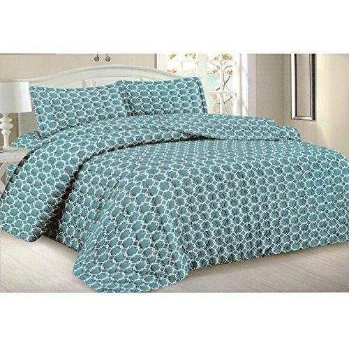 Todd Bettwäsche Queen Tagesdecke Quilt 3-teilig weich Gesteppte Betten–Luxuriöse bequem Mikrofaser Decke + 2kissenrollen (blau Geometrische) (Grand Hotel Bettbezug)