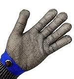 Guanti di sicurezza da macellaio, a prova di taglio e resistenti alle lame, con rete metallica in acciaio INOX, colore: blu, misura XL, ad alto rendimento, con protezione di livello 5