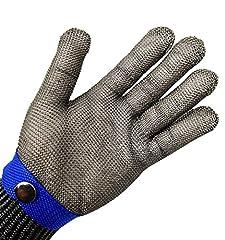 Idea Regalo - Guanti di sicurezza da macellaio, a prova di taglio e resistenti alle lame, con rete metallica in acciaio INOX, colore: blu, misura XL, ad alto rendimento, con protezione di livello 5