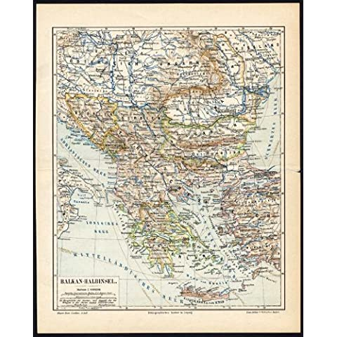 theprintscollector antico map-balkan-greece-turkey-peninsula-europe-meyers-1895