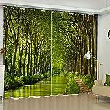 Tenda arredo casa con asole Oscurando Stampa 3D in poliestere Jungle per soggiorno 2 pannelli , C , 132X241CM X 2 Panels
