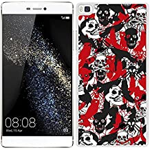 Funda carcasa para Huawei P8 Lite estampado sticker bomb calavera rojo negro y blanco borde blanco