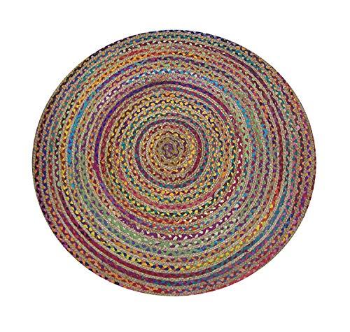 Teppich, 90 x 90 cm, Baumwolle, Jute, rund, handgeflochten -