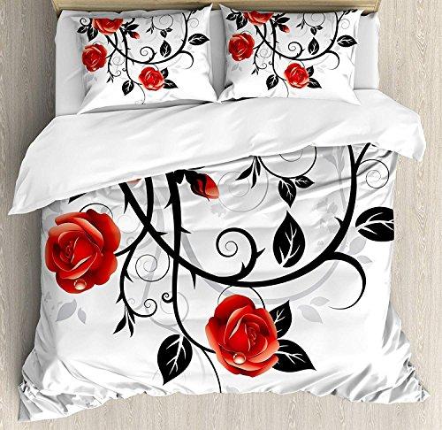 Gothic 3-teiliges Bettwäscheset Bettbezug-Set, Verzierte, wirbelnde Zweige mit Rosen Garden Flower Grunge Style Europäisch, 3-teiliges Tröster- / Qulitbezug-Set mit 2 Kissenbezügen, Zinnoberrot Schwar -