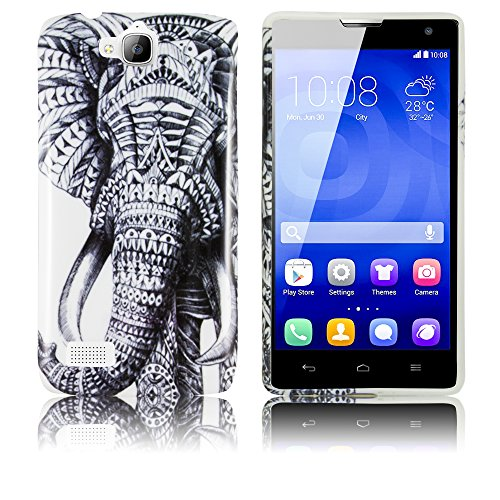 Huawei Honor 3C Silikon-Hülle Maori Elefant weiche Tasche Cover Case Bumper Etui Flip smartphone handy backcover thematys®