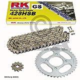 Kettensatz Kreidler Enduro 125 DD 08-14, Kette RK GS 428 HSB 136, offen, GOLD, 15/51