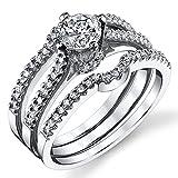 Damen Sterling Silber 925 Verlobungsring, Ehering Set Mit 0.75 Karat Rundschnitt Zirkonia Bequemlichkeit Passen,Größe 50