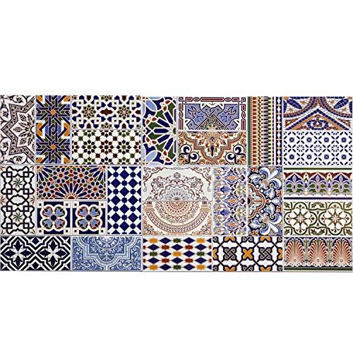 Marokkanische Patchwork Fliesen Bunt Mix 28 x 14 cm 0,98 m² als Wandfliesen | Orientalische Fliese für schöne Küche Flur Bad & Küchenrückwand | FL5000