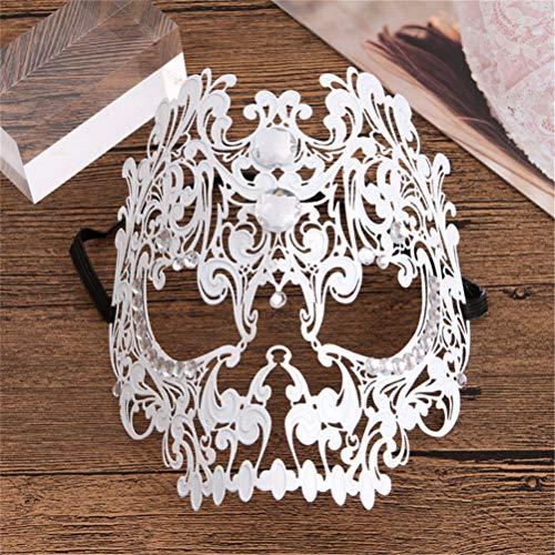 Flybloom Metall Hohlmaske Gothic Dance Augenmaske Holloween Party Kostüme Requisiten Atmosphäre Arrangiert Handwerk, Weiße - Holloween Gothic Kostüm