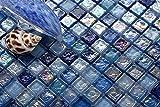 10cm x 10cm Glas Mosaik Fliesen Muster in Irisierence Blau, Lila und mit violettem Perlmutt Schimmer gehammertes Glas (MT0109 Muster)