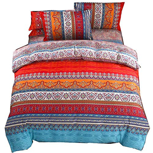 Juego de ropa de cama de 4Piezas para Cama 150cm Bohemian Exotic Boho Printed Mandala Funda de edredón...