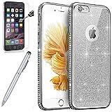iPhone 6S Hülle,iPhone 6 Hülle,ikasus [Hartglas Schutzfolie Stylus] Strass Diamant Bling Glitzer Überzug TPU Silikon Handy Hülle Tasche Silikon Case Durchsichtig Schutzhülle für iPhone 6/6S,Silber