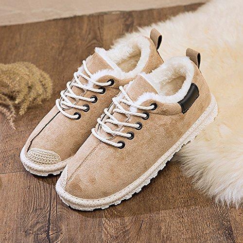 ZHIRONG Scarpe invernali in cotone per donne tenere calde scarpe da neve piatte ( Colore : Nero , dimensioni : EU36/UK4/CN36 ) Beige