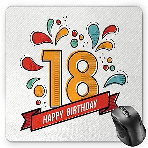 Preisvergleich Produktbild HYYCLS 18th Birthday Mauspads,  Multicolored Digital Print on Eighteen Years Happy Birthday Lettering Print,  Standard Size Rectangle Non-Slip Rubber Mousepad,  Multicolor
