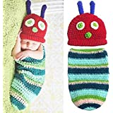 Newborn Baby Boy Girl Beanie Crochet Very Hungry Caterpillar Hat Cocoon Set Party Costume Photo Props