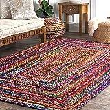Fernish Decor Braided Cotton Carpet Rug Multicolor for Bedroom 4x6 Feet Rectangle