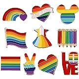 10 Pezzi Orgoglio Smalto Spille LGBT, Gay Pride Pin,Spille con Smalto Arcobaleno, per Vestiti Borse Giacca Accessori di Artig
