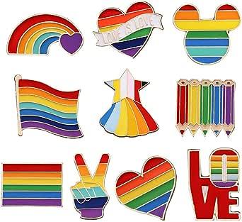 10 Pezzi Orgoglio Smalto Spille LGBT, Gay Pride Pin,Spille con Smalto Arcobaleno, per Vestiti Borse Giacca Accessori di Artigianato Fai da Te