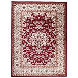 Traditioneller Klassischer Teppich für Ihre Wohnzimmer - Weinrot Beige Creme - Perser Orientalisches Heriz Keshan Muster - Blumen Ornamente - Top Qualität Pflegeleicht