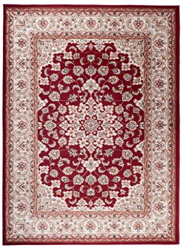 Perser Antik Teppich (Traditioneller Klassischer Teppich für Ihre Wohnzimmer - Weinrot Beige Creme - Perser Orientalisches Heriz Keshan Muster - Blumen Ornamente - Top Qualität Pflegeleicht