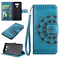 G6 Wallet Case, EST-EU Retro Mandala Embossing PU Leather Stand Function Protective Covers with Card Slot Holder Wallet Book Case for LG G6, Blue