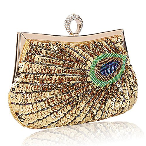 Borsa Da Sera Delle Signore Pavone Antico Perline Paillettes Cena Festa Di Nozze Borse. Oro 23x18 Cm